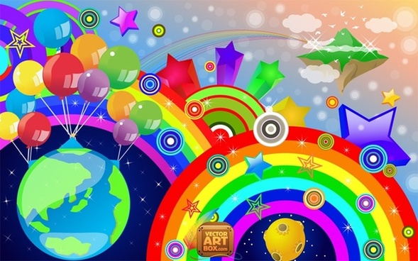 eventful colorful background rainbow globe and balloons decoration