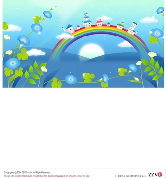 dreaming background houses rainbow flowers icons multicolored design