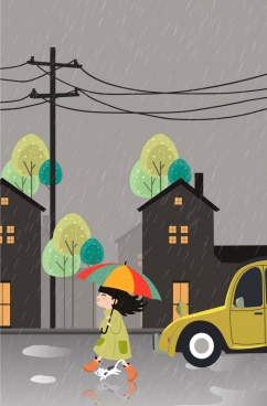 rainy background girl pet umbrella icons colored cartoon