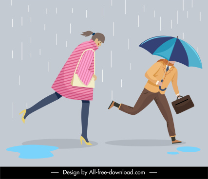 rainy day background running people cartoon characters sketch