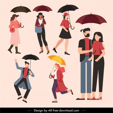 rainy fashion icons people umbrella sketch