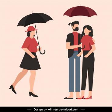 rainy season fashion umbrella people sketch cartoon design