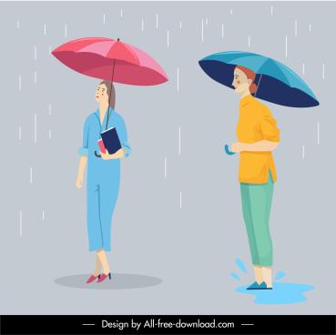 rainy street background cartoon characters sketch