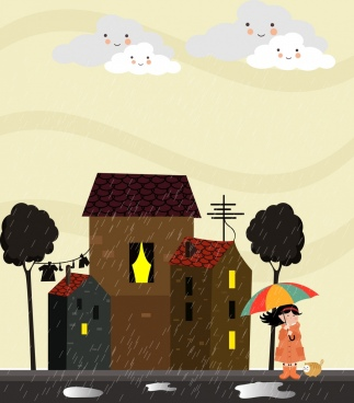 rainy weather background cartoon stylized cloud girl icons