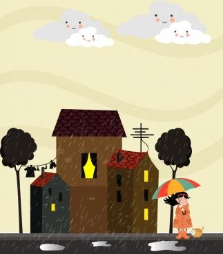 rainy weather background cartoon stylized cloud girl icons