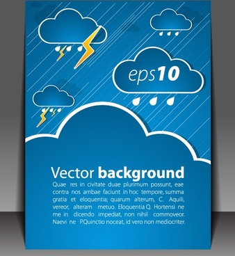 brochure background template rainy weather elements sketch