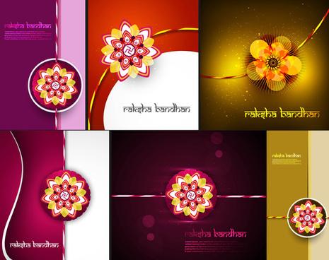 raksha bandhan beautiful celebration 6 collection bright colorful background vector