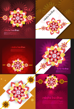 raksha bandhan beautiful celebration 6 collection bright colorful design vector