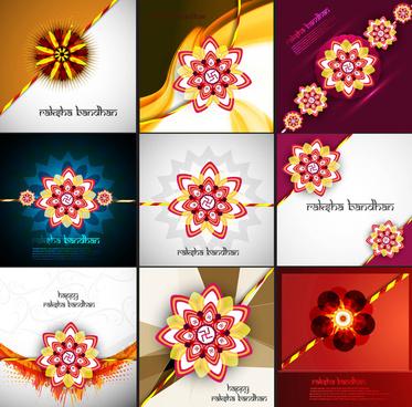 raksha bandhan beautiful celebration 9 collection presentation colorful vector design
