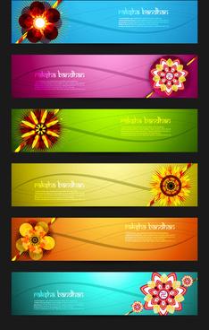 raksha bandhan celebration bright colorful six headers vector design