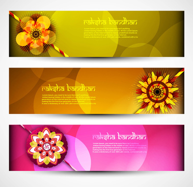 raksha bandhan celebration bright colorful three headers vector illustration