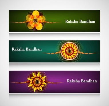 raksha bandhan celebration colorful headers vector