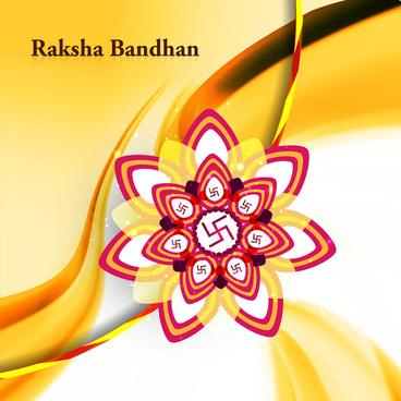 raksha bandhan colorful rakhi background wave vector illustration