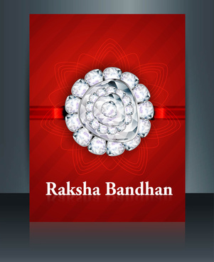 raksha bandhan festival brochure red colorful template illustration