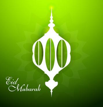 ramadan kareem beautiful mosque shiny green colorful wave vector design