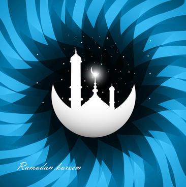 ramadan kareem bright blue colorful swirl wave vector