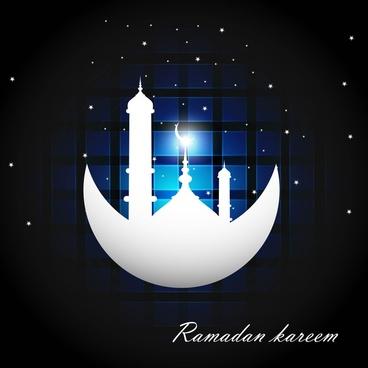 ramadan kareem bright blue colorful vector