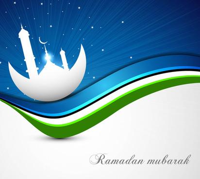 ramadan kareem bright blue colorful wave vector design