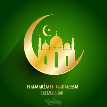 ramadan kareem green greeting card with long shadow