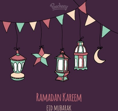 ramadan kareem greeting card drawing style