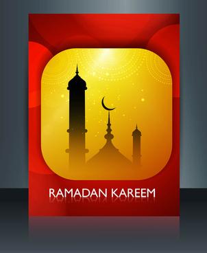 ramadan kareem mosque colorful template vector
