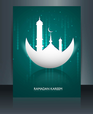ramadan kareem mosque colorful template vector