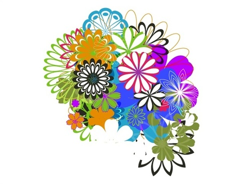 various flowers combination vector illustration in colors style