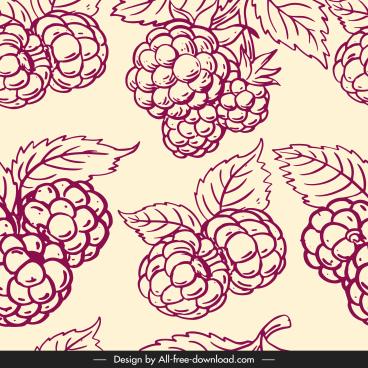 rasberry fruit pattern template handdrawn classical design