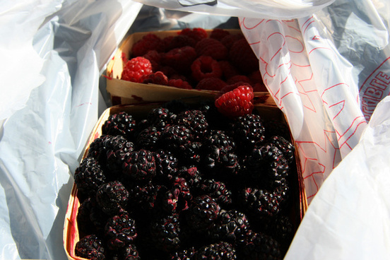 raspberries black and red