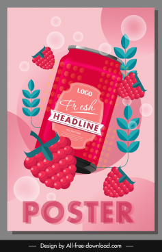 raspberry drink advertising poster dynamic shiny flat sketch