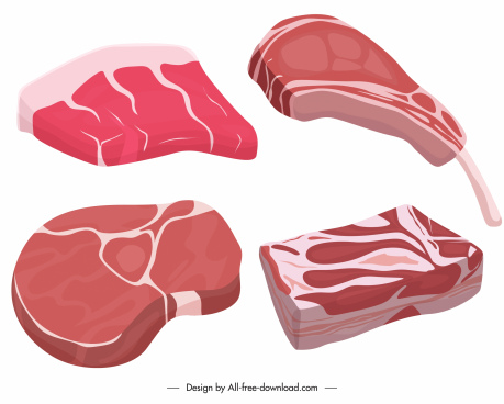 raw meat icons colored 3d sketch