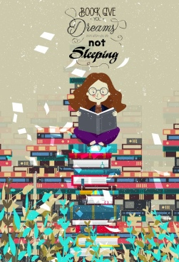 reading banner girl book stack icons colored cartoon