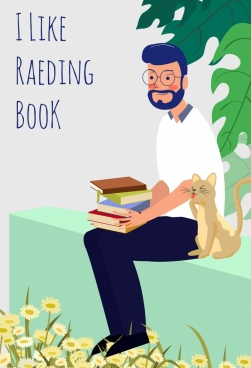 reading book banner man cat icons colored cartoon