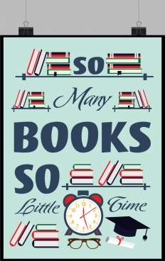reading culture banner bookshelves clock icons decor