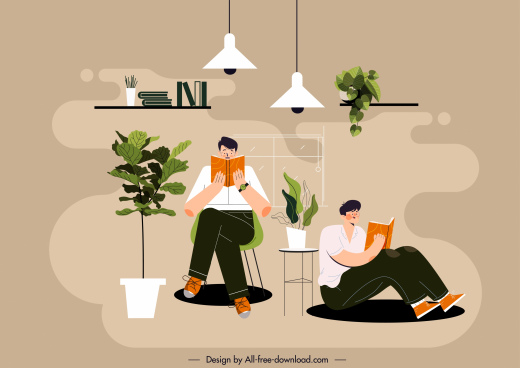 reading lifestyle background colored cartoon sketch