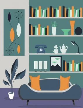 reading room decor background sofa shelf icons