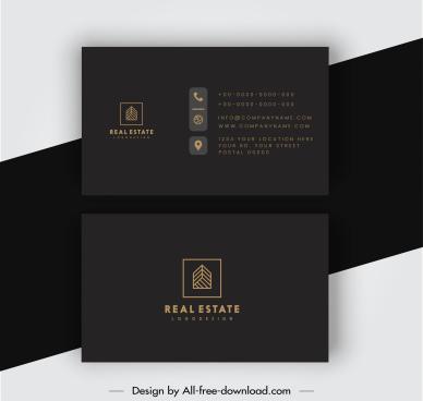 real estate business card template elegant dark plain