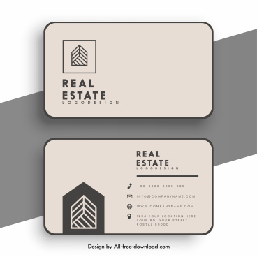real estate business card template simple plain classic