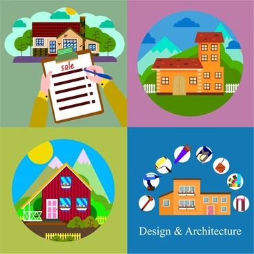 real estate business concept isolated with various houses