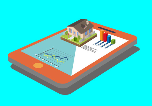 real estate chart with 3d illustration on touchpad