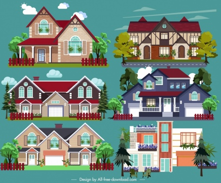 real estate design elements modern building icons sketch