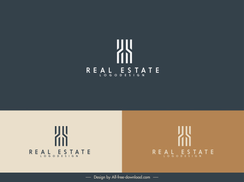 real estate logo template flat abstract design