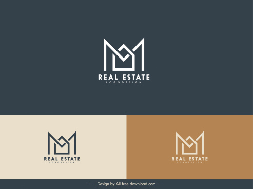 real estate logo template m text house shape