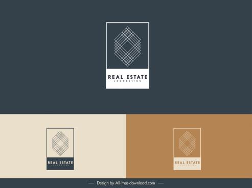 real estate logo templates abstract symmetric geometric sketch