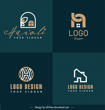 real estate logo templates flat house shapes sketch