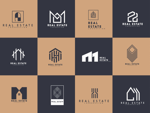 real estate logo templates flat shapes sketch