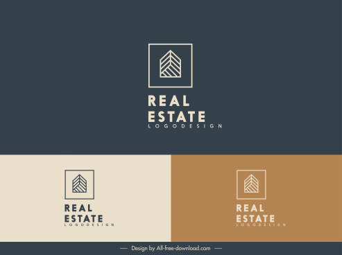 real estate logotype flat geometric design house sketch