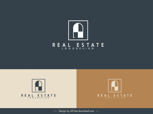 real estate logotype flat window shape sketch
