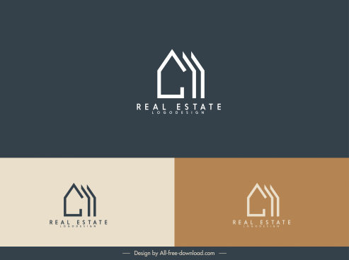 real estate logotype house sketch simple flat design
