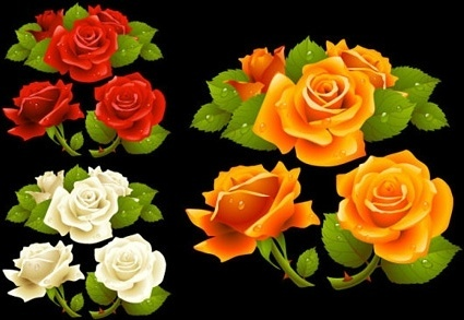 roses icons design yellow red white realistic decoration